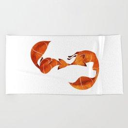 Kissing foxes Beach Towel