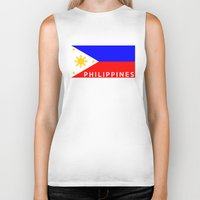 philippines Biker Tanks featuring flag of Philippines by tony tudor
