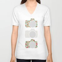polka dot V-neck T-shirts featuring Floral & Polka Dot Cameras by Allyson Johnson