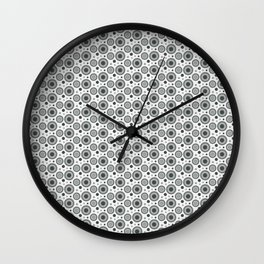 PPG Night Watch Pewter Green Polka Dots and Circles Pattern on White Wall Clock