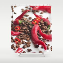Hot red chillies in contrast to coffee beans in the abstract design Shower Curtain