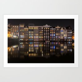 Amsterdam houses with lights reflection at night Art Print