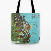 milwaukee Tote Bags featuring Mapping  Milwaukee by Manuja Waldia