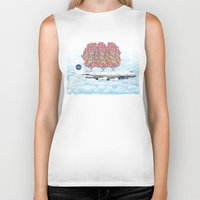 plane Biker Tanks featuring Happy Plane by WyattDesign