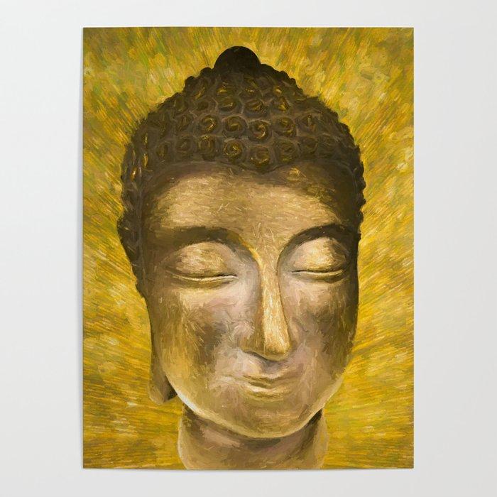 Gold buddha head by Brian Vegas Poster