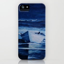 Lone Boat on Blue Ocean Waves iPhone Case