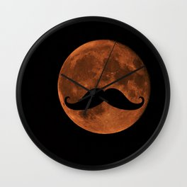 Mustache Moon Wall Clock