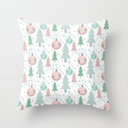 Christmas white pattern Throw Pillow