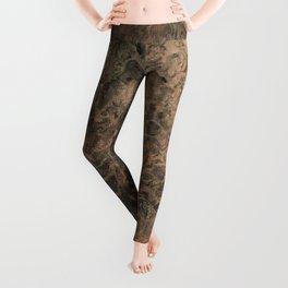 Copper Black Gold Marble Canvas Texture Leggings