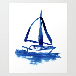 Sailboat in Blue Ink (Third in Set of Three) Art Print