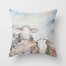 Couple of Sheep Throw Pillow