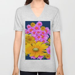 BLUE COLOR PINK-YELLOW FLOWER GARDEN ART Unisex V-Neck