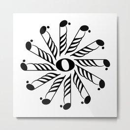 Music note mandala 3 Metal Print