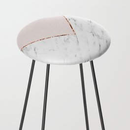 Peony blush geometric marble Counter Stool