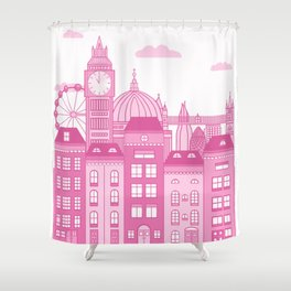 London Skyline Pink Shower Curtain