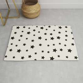 Star Pattern - Black & White Rug