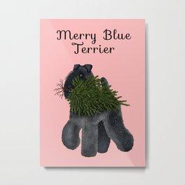Merry Blue Terrier (Pink Background) Metal Print