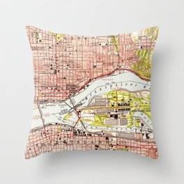 Vintage Map of Davenport Iowa (1953) Throw Pillow