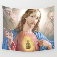 jesus Wall Tapestries featuring Jesus Piece by MICKEY FICKEY GALLERY