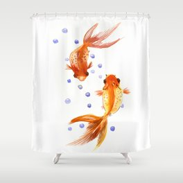 Goldfish, two fish, Koi Asian Style watercolor art, feng shui Shower Curtain