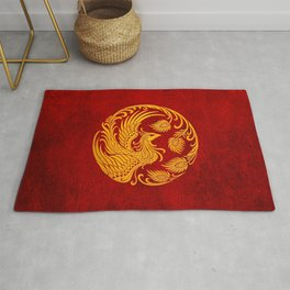 Traditional Yellow and Red Chinese Phoenix Circle Rug
