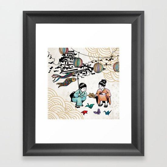 Kids and Koï Nobori Framed Art Print