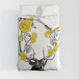 The Stag and Roses | Deer and Flowers | Yellow | Vintage Stag | Vintage Deer | Antlers | Woodland | Comforters