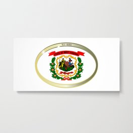 West Virginia State Flag Oval Button Metal Print
