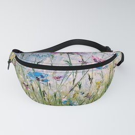 Carpet of cornflowers, colorful wildflowers Fanny Pack