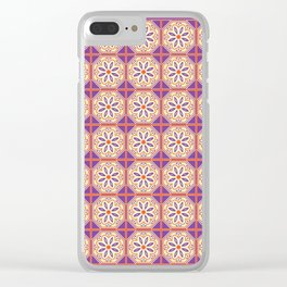 Mediterranean Floral Tiles Clear iPhone Case