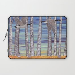 Canada geese, hedgehogs, and autumn birch trees Laptop Sleeve