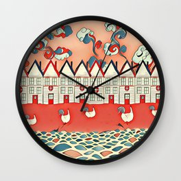 Chickens in the seaside Wall Clock