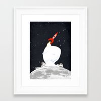 tintin Framed Art Prints featuring Destination Moon by Calvin Wu