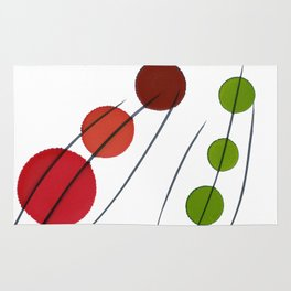 Red Brown Green Drops Rug