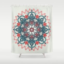 Coral & Teal Tangle Medallion Shower Curtain
