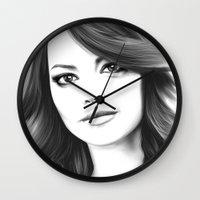 emma stone Wall Clocks featuring Emma Stone minimalist digital portrait by Thubakabra