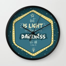 """God is Light"" Hand-Lettered Bible Verse Wall Clock"