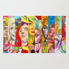 Female Faces Portrait Collage Design 1 Rug