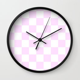 Checkered - White and Pastel Violet Wall Clock