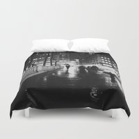 new york city Duvet Covers featuring New York City Noir by Vivienne Gucwa