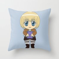 shingeki no kyojin Throw Pillows featuring Shingeki no Kyojin - Chibi Armin Flats by Tenki Incorporated