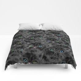 Black Kitten Faces Comforters