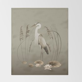 Heron and Lotus Flowers Throw Blanket