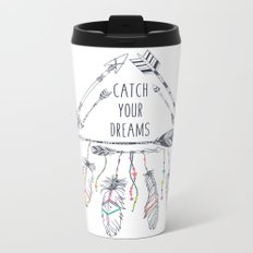 Tribal frame with ethnic arrows and feathers. American indian motifs. Boho  Metal Travel Mug