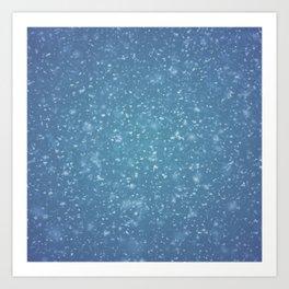 Hand painted blue white watercolor brushstrokes confetti Art Print