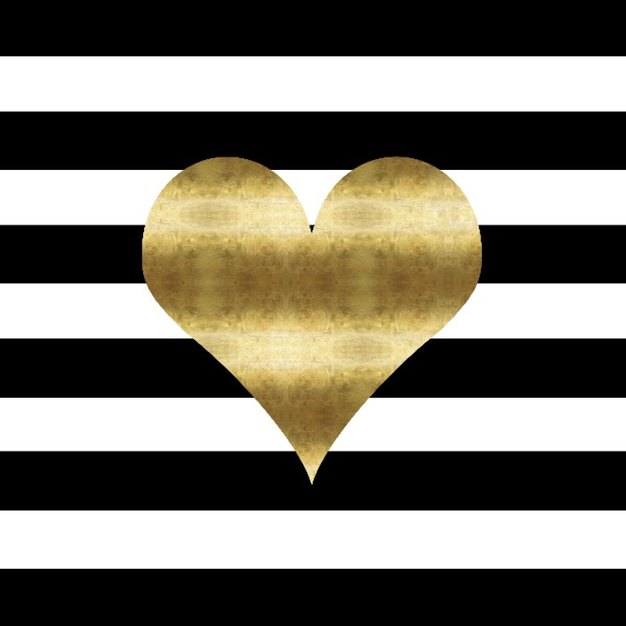 Gold Heart Black And White Stripe Comforters By Huntleigh