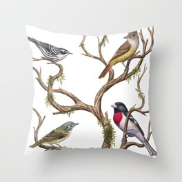 Four Songbirds Throw Pillow