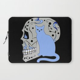 Blue Skull with Black Vines and Cat w Yellow Eyes Laptop Sleeve