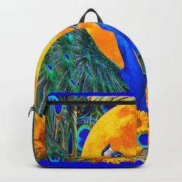 BLUE PEACOCKS MOON & FLOWERS FANTASY ART Backpack