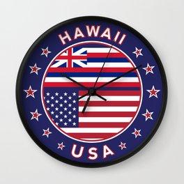 Hawaii, Hawaii t-shirt, Hawaii sticker, circle, Hawaii flag, white bg Wall Clock